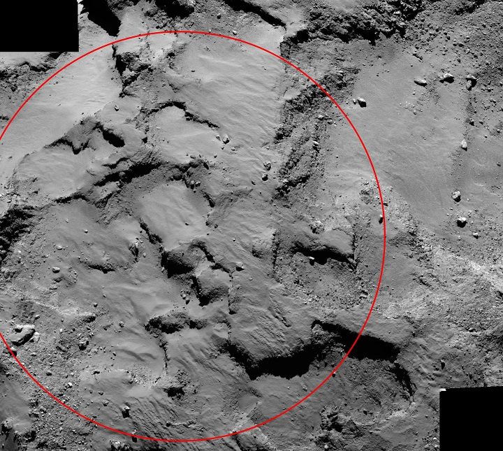 "An annotated mosaic from the Rosetta spacecraft shows ""Site J,"" the primary landing site on comet 67P/Churyumov-Gerasimenko for the mission's Philae lander. Image Credit: ESA/Rosetta/MPS/UPD/LAM/IAA/SSO/INTA/UPM/DASP/IDA."