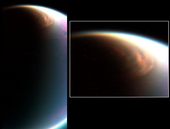 This cloud in the stratosphere over the north pole of Titan is similar to Earth's polar stratospheric clouds. NASA scientists have determined that Titan's cloud contains methane ice, which was not previously thought to form in that part of the atmosphere. Image Credit: NASA/JPL/University of Arizona/LPGNantes.