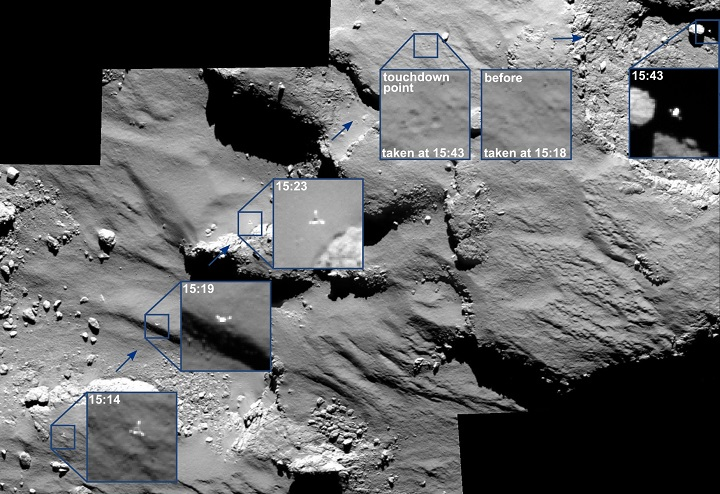 The descent of its comet lander Philae was captured by the Rosetta spacecraft's main camera as the lander approached - and then rebounded off - the comet's surface. Credit: ESA/Rosetta/MPS/UPD/LAM/IAA/SSO/INTA/UPM/DASP/IDA.