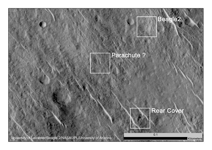 This annotated image shows where features seen in an observation by NASA's Mars Reconnaissance Orbiter have been interpreted as hardware from the Dec. 25, 2003 arrival at Mars of the United Kingdom's Beagle 2 Lander. The image was taken in 2014 by the orbiter's HiRISE camera.