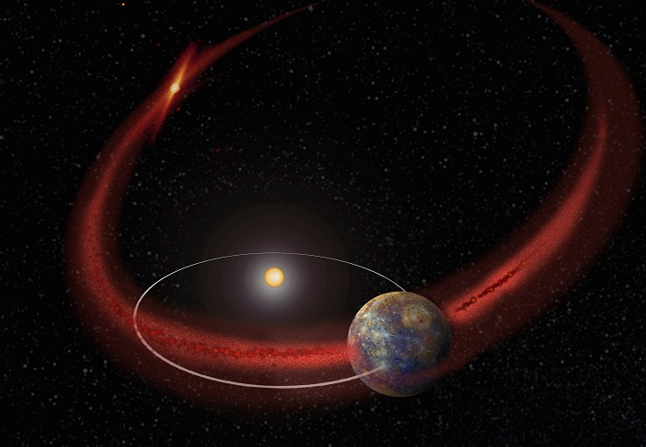 Mercury appears to undergo a recurring meteor shower, perhaps when its orbit crosses the debris trail left by comet Encke. (Artist's concept.) Image Credit: NASA's Goddard Space Flight Center.