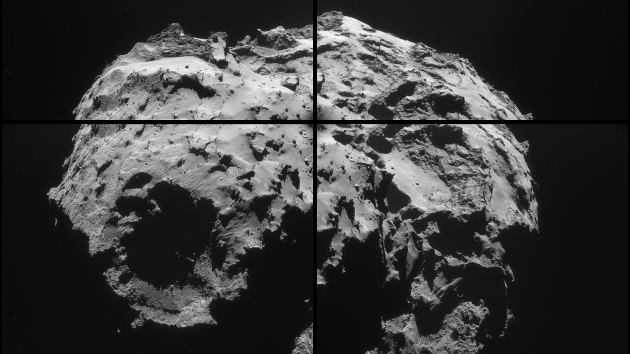 Images acquired by the navigation camera on the European Space Agency's Rosetta spacecraft orbiting Comet 67P/Churyumov-Gerasimenko. Image credit: ESA/Rosetta/NAVCAM.
