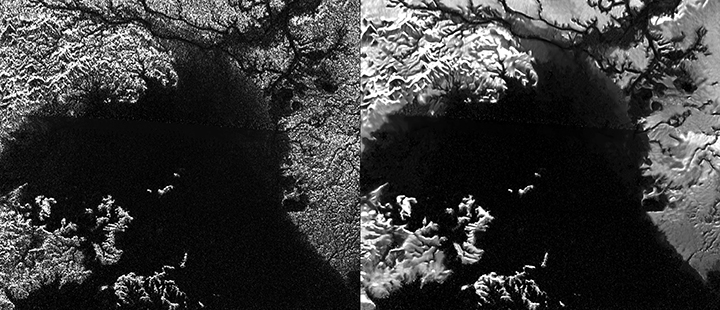 Presented here are side-by-side comparisons of a traditional Cassini Synthetic Aperture Radar (SAR) view and one made using a new technique for handling electronic noise that results in clearer views of Titan's surface. Image credit: NASA/JPL-Caltech/ASI.