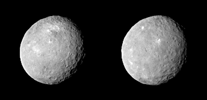 These two views of Ceres were acquired by NASA's Dawn spacecraft on Feb. 12, 2015, from a distance of about 52,000 miles (83,000 kilometers) as the dwarf planet rotated. The images have been magnified from their original size. Image Credit: NASA/JPL-Caltech/UCLA/MPS/DLR/IDA.