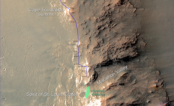 In February 2015, NASA's Mars Exploration Rover Opportunity is approaching a cumulative driving distance on Mars equal to the length of a marathon race. This map shows the rover's position relative to where it could surpass that distance. Image Credit: NASA/JPL-Caltech/Univ. of Arizona
