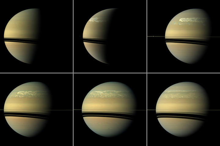 This series of images from NASA's Cassini spacecraft shows the development of a huge storm of the type that erupts about every 30 years on Saturn. Credit: NASA/JPL-Caltech/SSI.