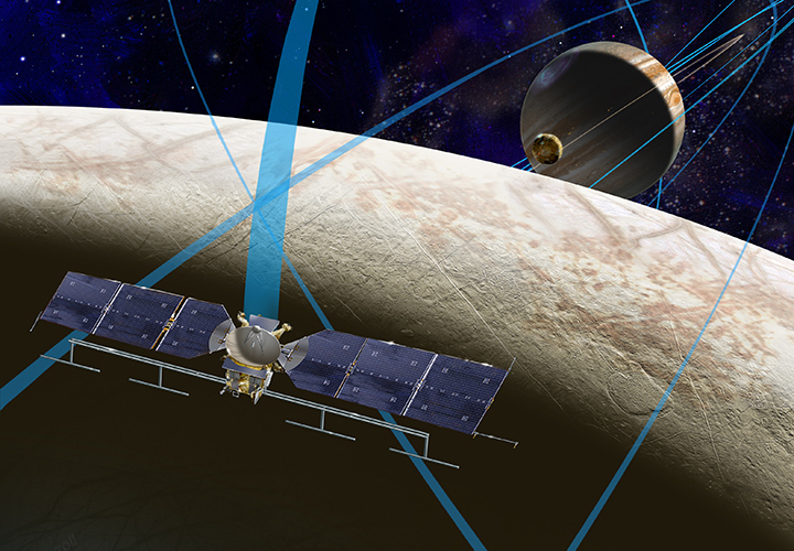 This artist's rendering shows a concept for a future NASA mission to Europa in which a spacecraft would make multiple close flybys of the icy Jovian moon, thought to contain a global subsurface ocean. Image Credit: NASA/JPL-Caltech.
