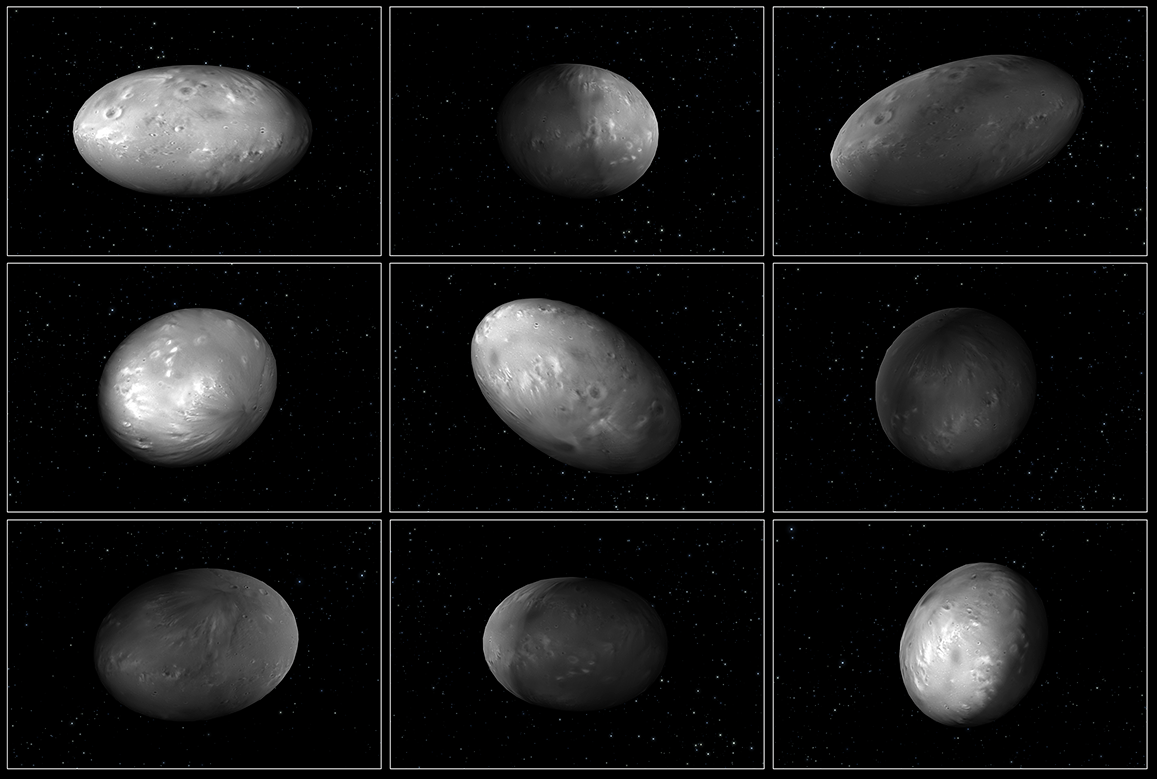 """This set of computer modeling illustrations of Pluto's moon Nix shows how the orientation of the moon changes unpredictably as it orbits the """"double planet"""" Pluto-Charon. Credits: NASA/ESA/M. Showalter (SETI)/G. Bacon (STScI)."""