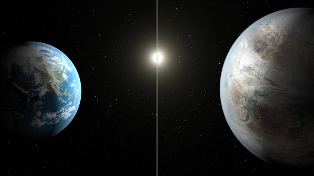The artistic concept compares Earth (left) to the new planet, called Kepler-452b, which is about 60 percent larger. The illustration represents one possible appearance for Kepler-452b - scientists do not know whether the planet has oceans and continents like Earth. Image credit: NASA/Ames/JPL-Caltech/T. Pyle.