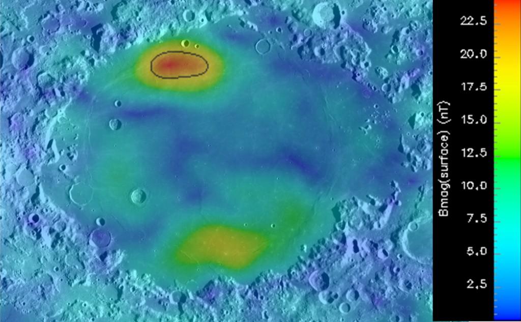Image credit: G. Kramer. Modeled surface magnetic field overlain on Lunar Reconnaissance Orbiter Wide Angle Camera mosaic of Mare Crisium.