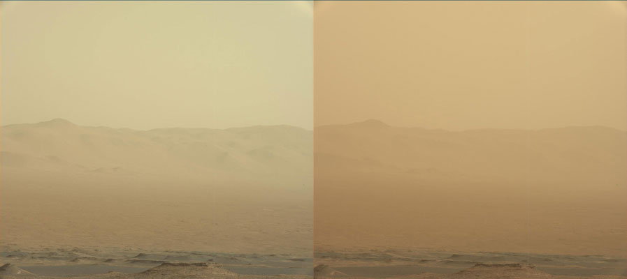These two views from NASA's Curiosity rover, acquired specifically to measure the amount of dust inside Gale Crater, show that dust has increased over three days from a major Martian dust storm. Credit: NASA/JPL-Caltech/MSSS