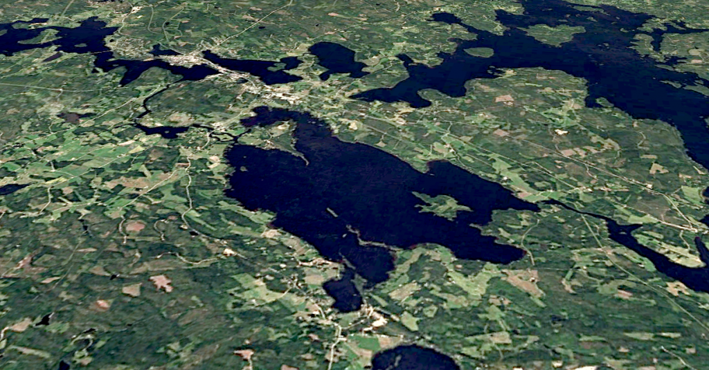 Image: Google Earth image of Lake Summanen in Finland, which conceals a newly discovered meteorite impact structure.