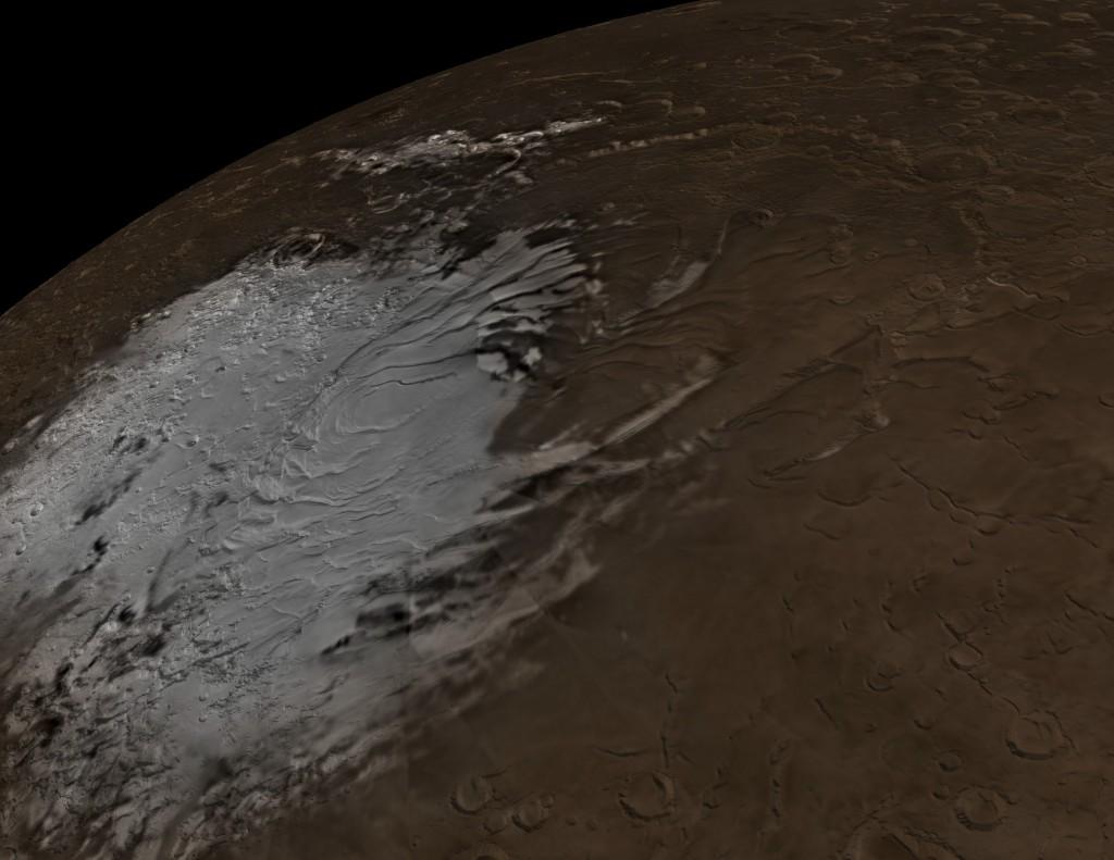 Crédito: NASA/Goddard Space Flight Center Scientific Visualization Studio; Datos de Mars Orbiter Camera cortesía de NASA/JPL/Malin Space Science Systems
