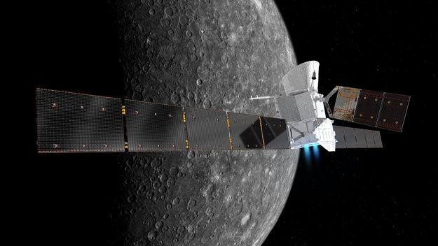 Artist's impression of BepiColombo at Mercury. Image credit: ESA/ATG medialab; NASA/JPL