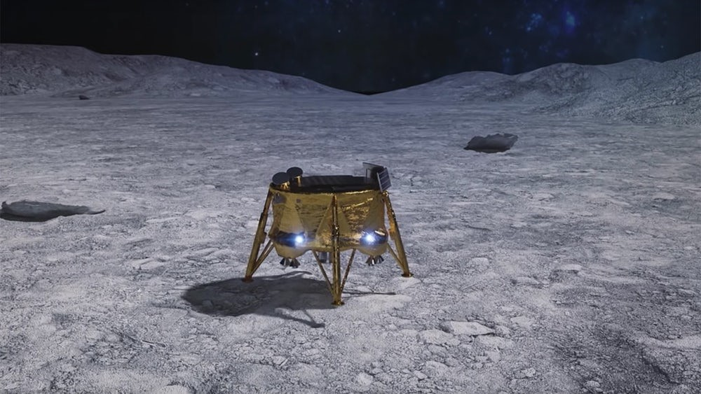 Artist's conception of Beresheet on the lunar surface: Image from SpaceIL