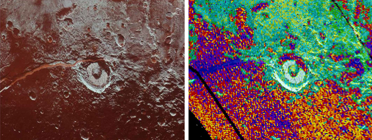Virgil Fossa, the red crack in the left image, may be a cryovolcano that erupted liquid water and ammonia onto Pluto's surface. Red, yellow, orange and purple pixels in the right picture correspond to higher concentrations of ammonia in water ice. Credit: Dalle Ore et al., Science Advances 2019