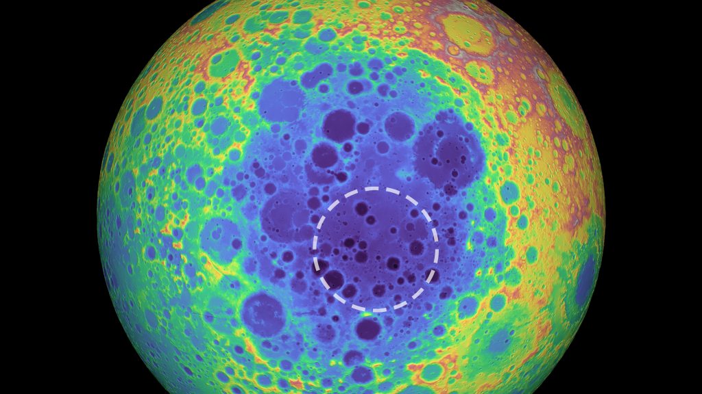 A topographical map of the far side of the moon shows the South Pole-Aitken basin in blue shades and the mass anomaly studied in the new research within the dashed line.(Image: © NASA/Goddard Space Flight Center/University of Arizona)
