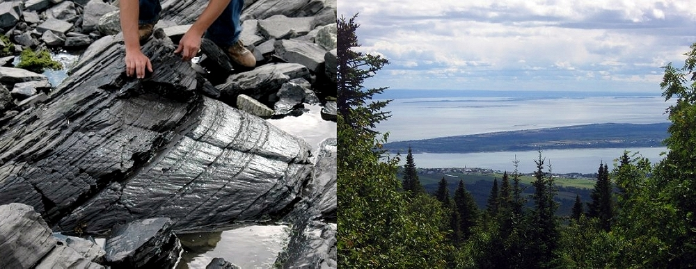 The large Charlevoix impact structure, Québec, in the field. Left: A large shatter cone, a hallmark of meteorite impact, in tilted strata of Ordovician limestone along the northern St. Lawrence River shoreline. Right: Panoramic view from the summit of Mont des Éboulements (center of the eroded crater) towards the St. Lawrence River, the Île aux Coudres, and the Appalachians. Image credit: Elmar Buchner, Martin Schmieder.