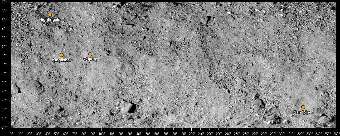 Los últimos cuatro sitios potenciales para la recolección de muestras se encuentran en el mapa del asteroide Bennu.