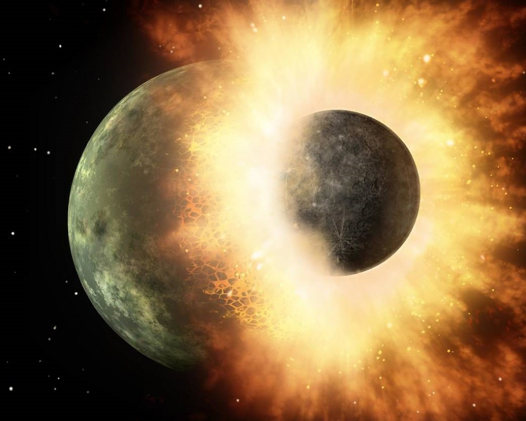Artist's concept of a giant impact which is assumed to have formed the moon. Image credit: NASA/JPL-Caltech