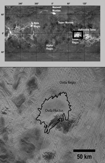 Arriba: mosaico de Venus obtenido por el radar de la sonda Magallanes; la flecha muestra la meseta de Ovda Regio. Abajo: el flujo de lava Ovda Fluctus que se encuentra en la parte superior de Ovda Regio.