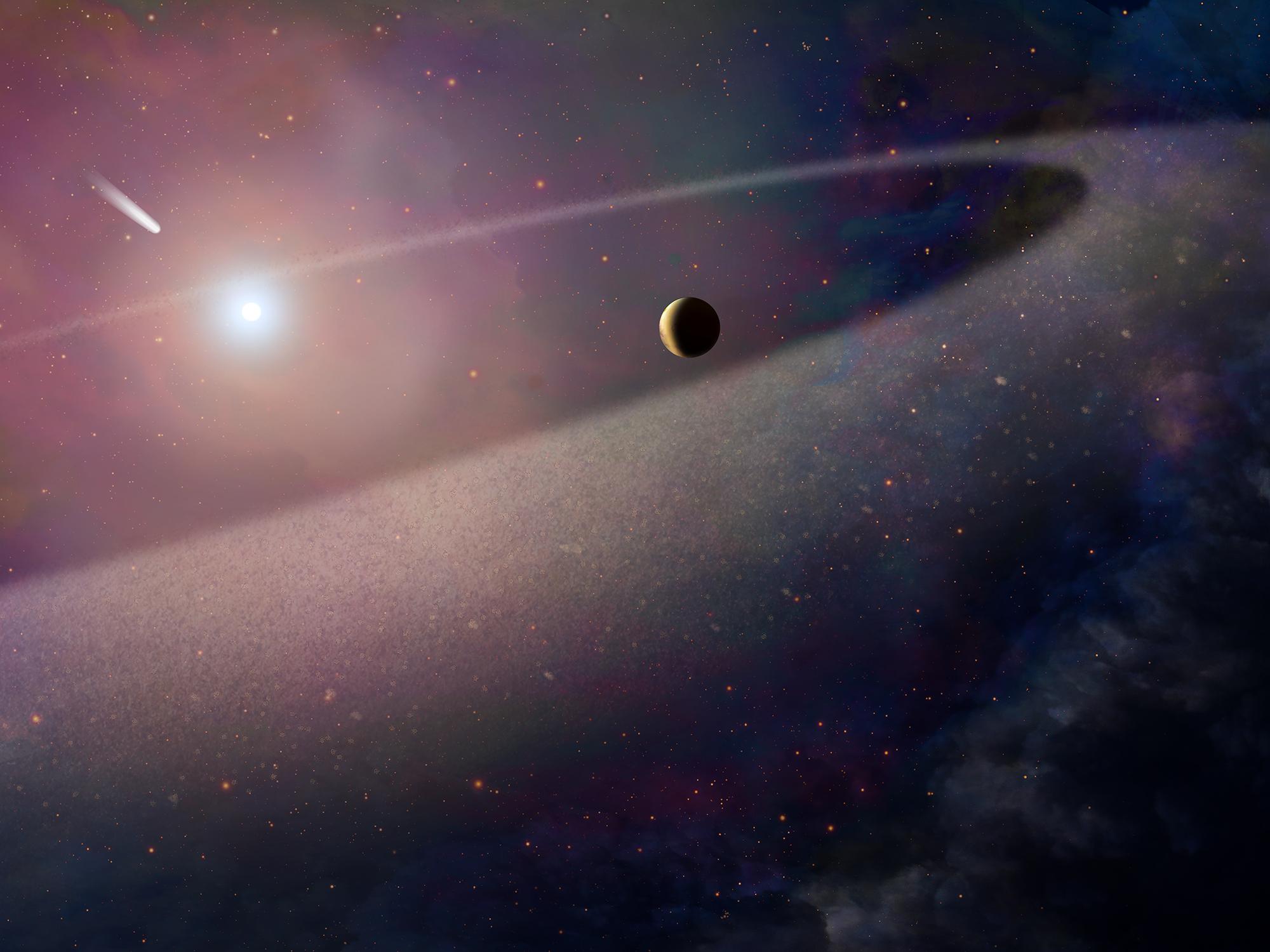 Representación artística de una estrella enana blanca con su atmósfera cercana, un planeta que queda, un anillo de escombros y un cometa que cae.