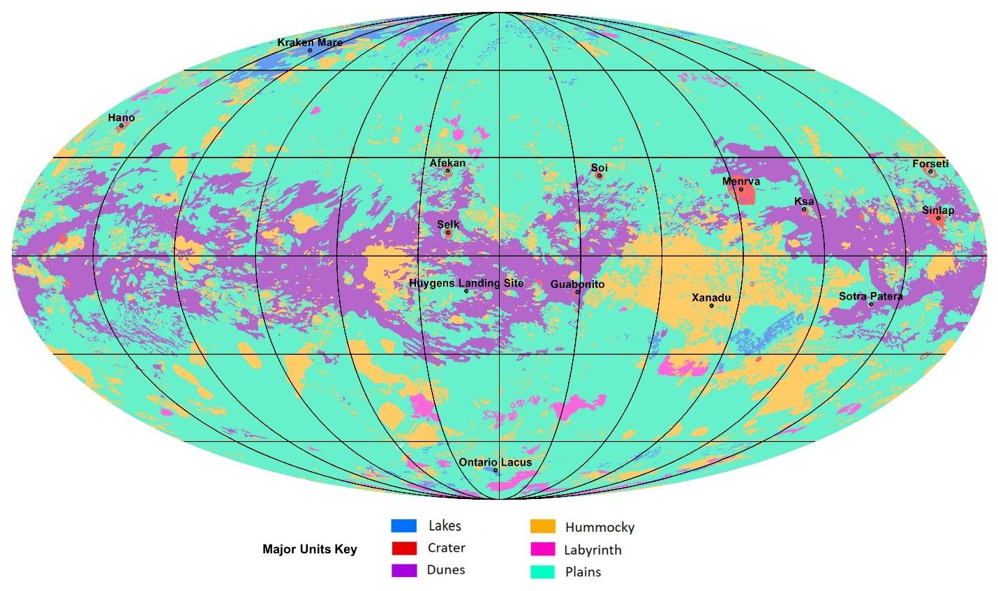 El primer mapa geológico global de Titán se basa en imágenes de radar y luz infrarroja de la misión Cassini de la NASA, que orbitó Saturno de 2004 a 2017.