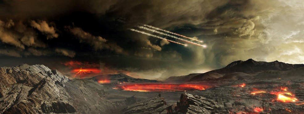 Un artista de la NASA muestra cómo fue el bombardeo de meteoritos contra la Tierra antigua.