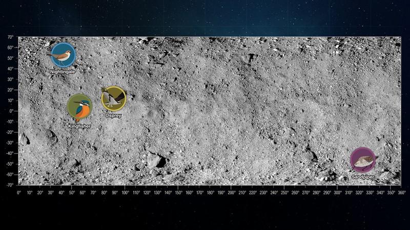 Los sitios de aterrizaje para la recolección de muestras en el asteroide Bennu.