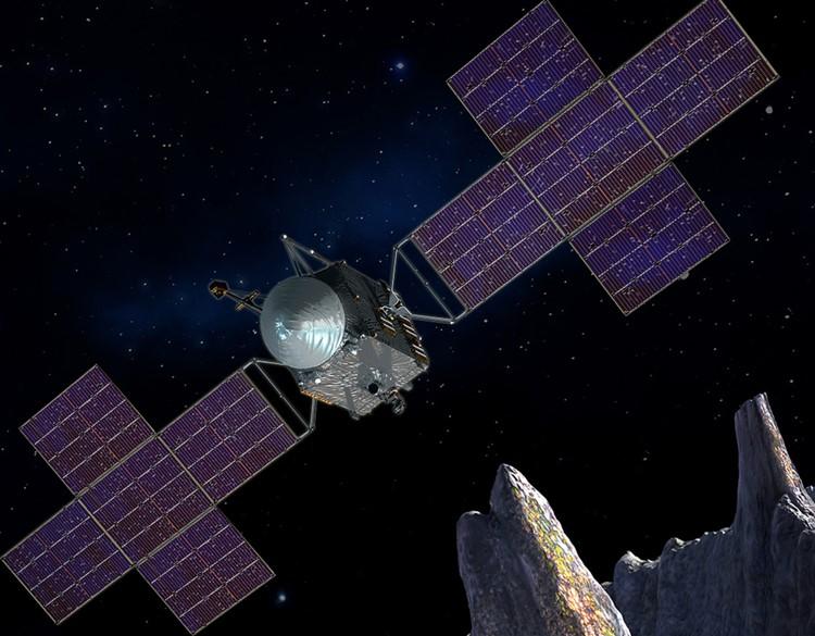 Representación artística de la sonda espacial Psyche.