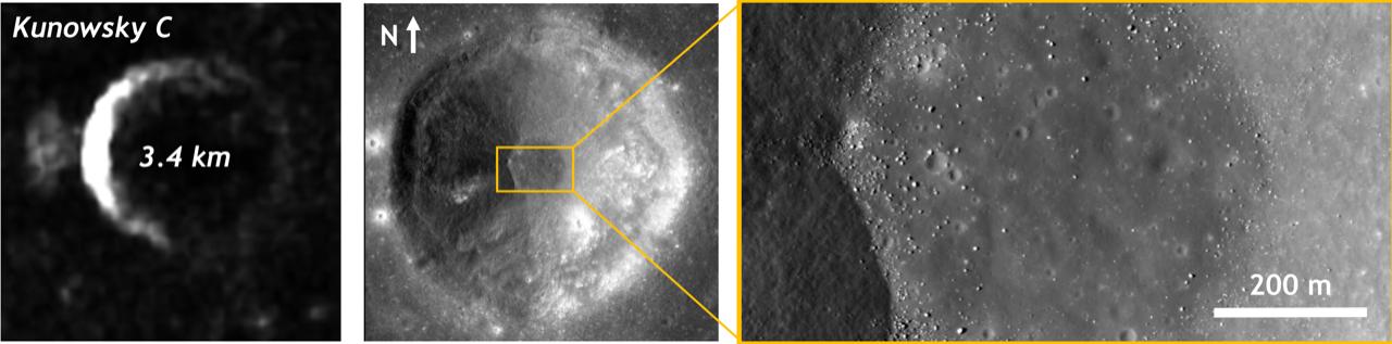 Cráter Kunowsky en la Luna visto en radar por Mini-RF (izquierda) y óptico por LROC (centro y derecha).