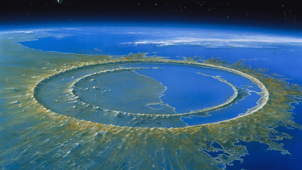 Recreación artística del cráter de impacto de Chicxulub, poco después del impacto hace 66 millones de años.