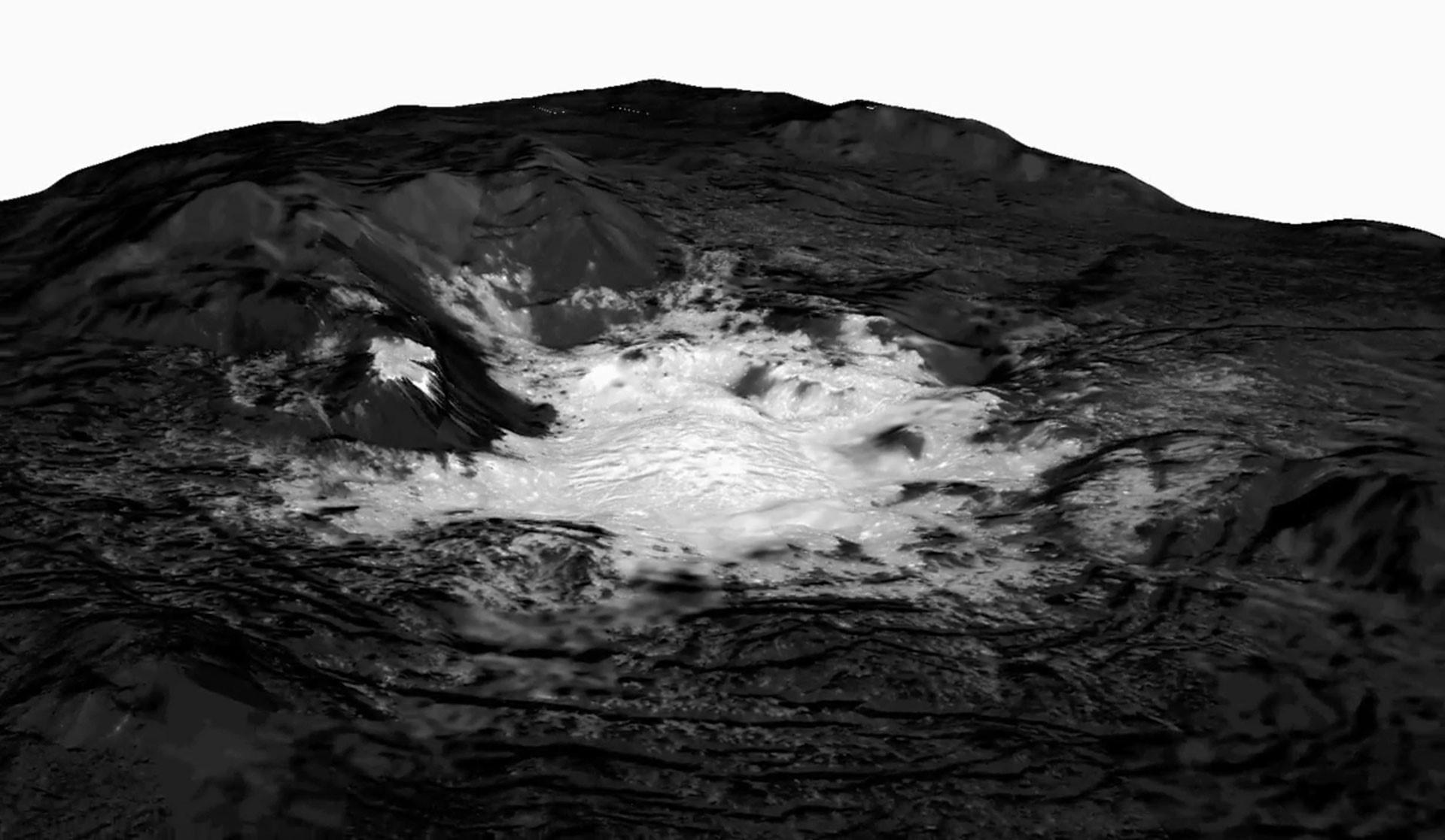 Un mosaico superpuesto sobre un modelo topográfico que muestra una vista cercana de la formación Cerealia Facula en Ceres.