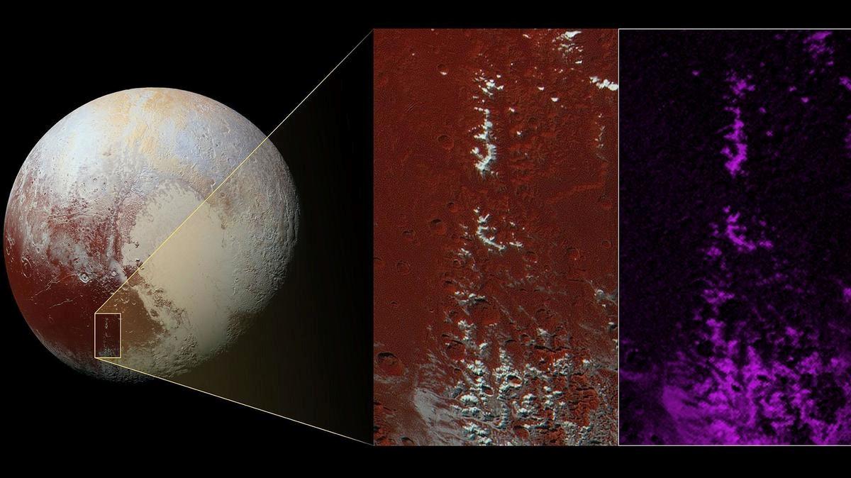 Esta imagen, capturada por la sonda espacial New Horizons de la NASA, muestra una cadena de montañas, situadas en la oscura región de Plutón llamada Cthulu, coronadas con escarcha de metano.