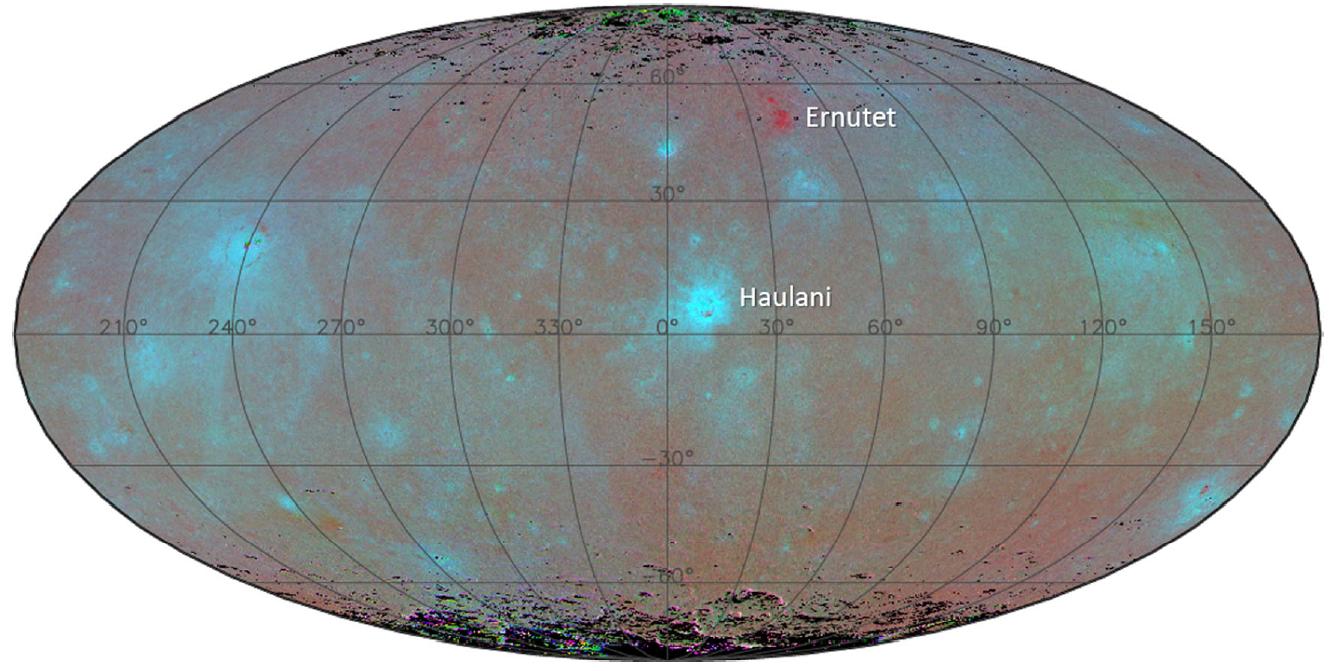 Distribución de la coloración azul en Ceres, con la región del cráter Haulani mostrando la coloración más intensa.