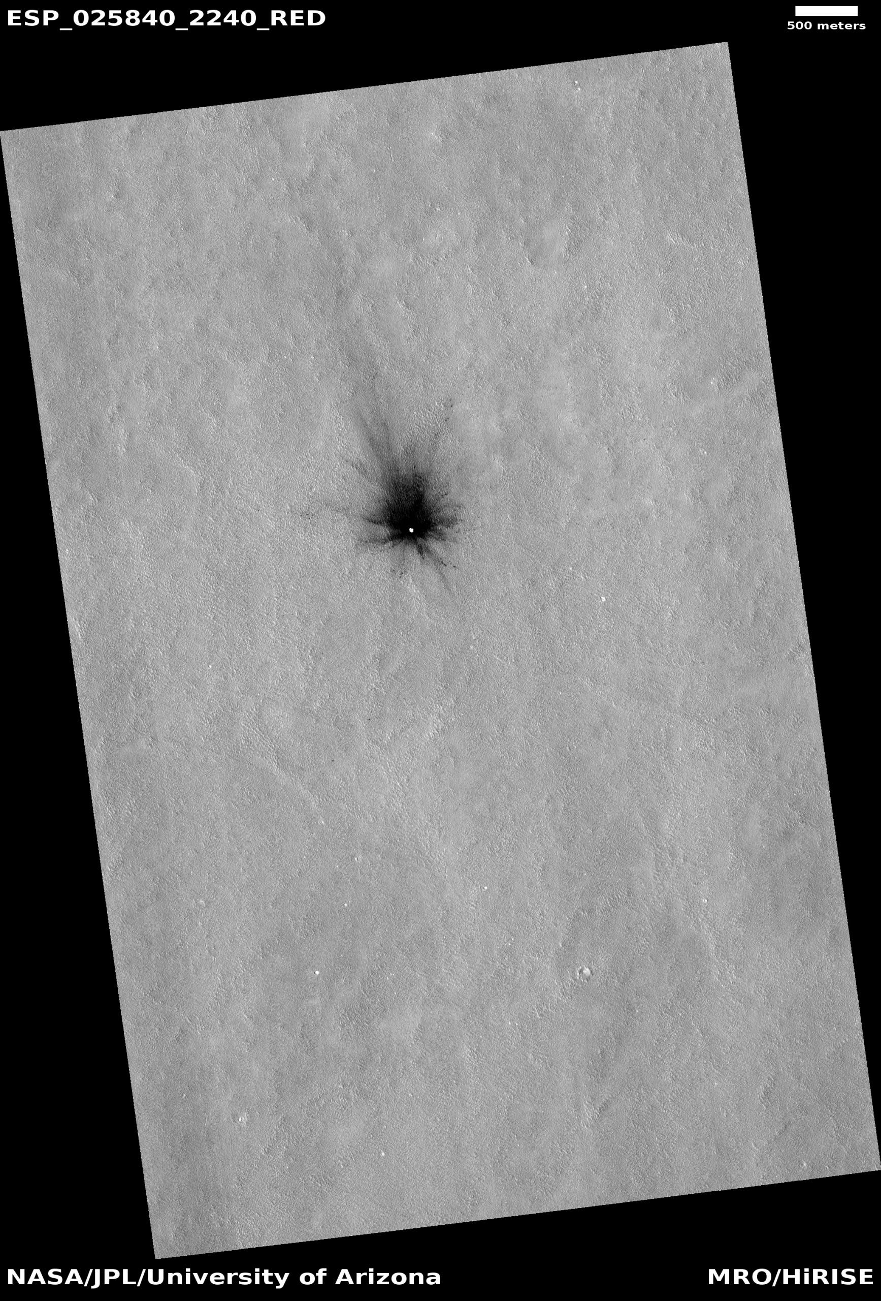Candidato a nuevo sitio de impacto en Arcadia con posible exposición al hielo. Crédito: HiRISE, NASA / JPL / Universidad de Arizona.