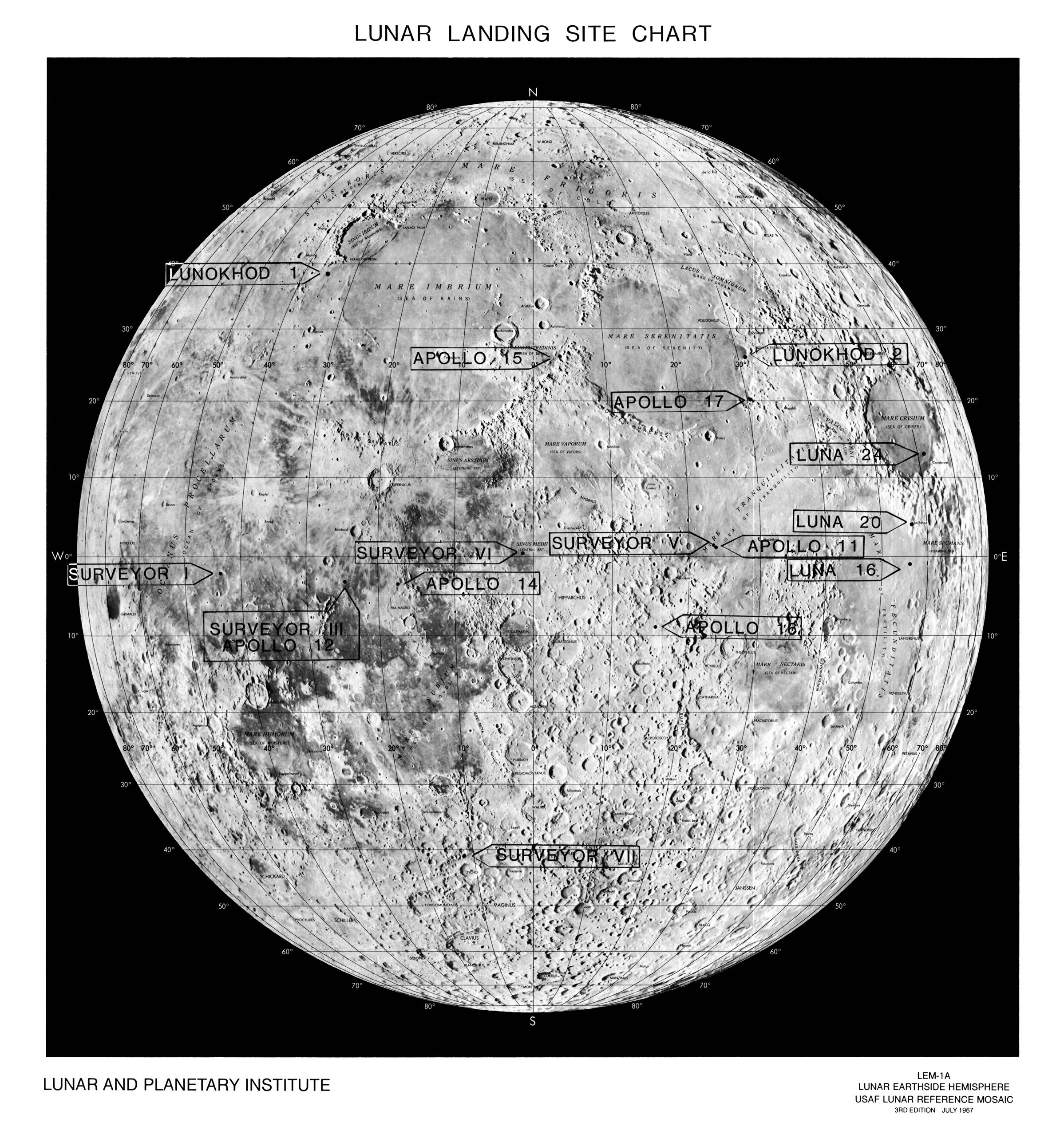 Lunar landing site chart