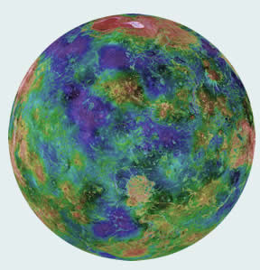 Radar image of Venus colored by topography
