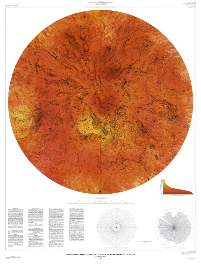Topographic Map of Part of the Northern Hemisphere of Venus