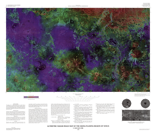 Altimetric Radar Image Map of the Sedna Planitia Region of Venus