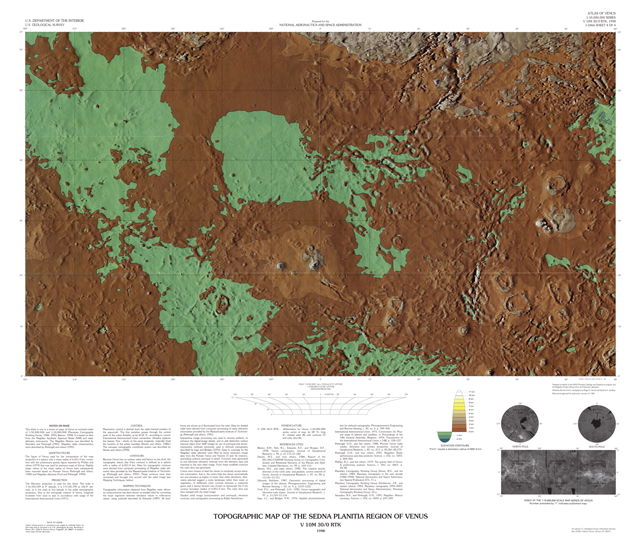 Topographic Map of the Sedna Planitia Region of Venus
