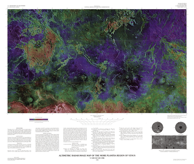 Altimetric Radar Image Map of the Niobe Planitia Region of Venus