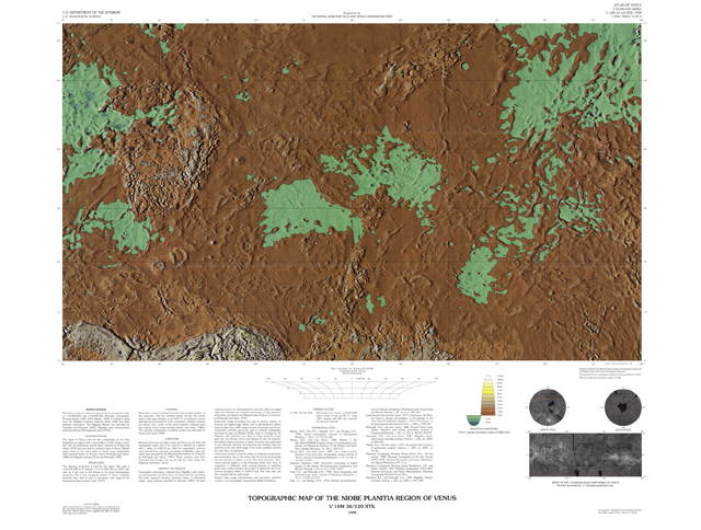 Topographic Map of the Niobe Planitia Region of Venus