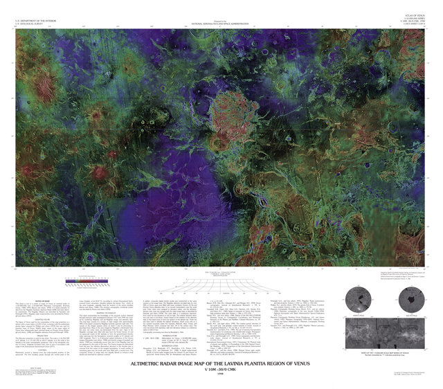 Altimetric Radar Image Map of the Lavinia Planitia Region of Venus
