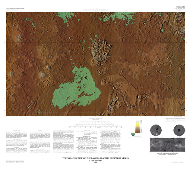 Topographic Map of the Lavinia Planitia Region of Venus