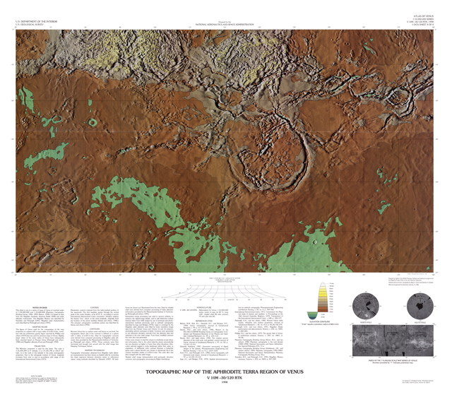 Topographic Map of the Aphrodite Planitia Region of Venus