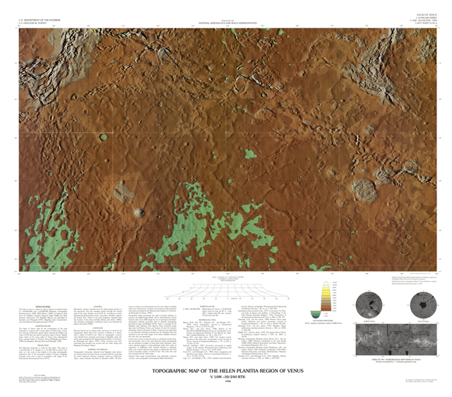 Topographic Map of the Helen Planitia Region of Venus
