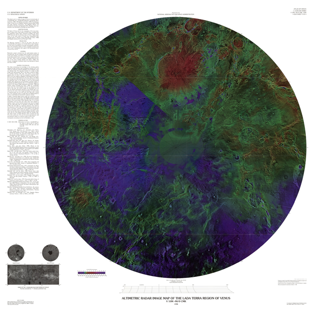 Altimetric Radar Image Map of the Lada Terra Region of Venus