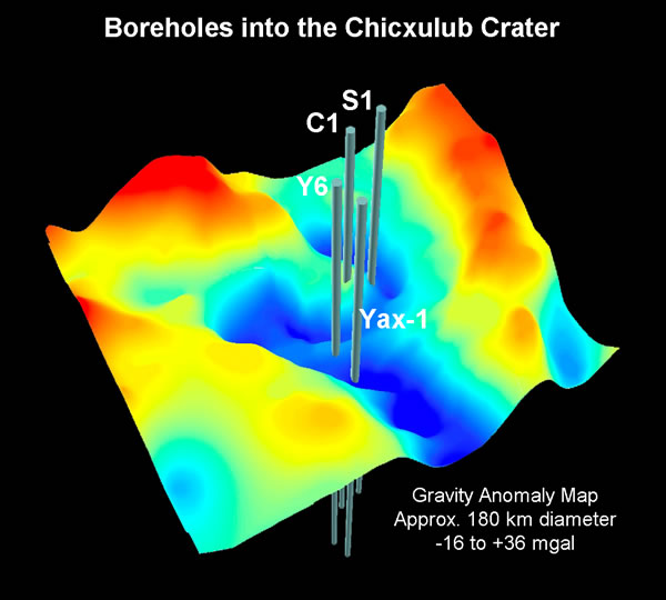Chicxulub Gravity and Borehole Map