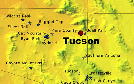 Map Of Eastern Arizona.South East Arizona Meteorites